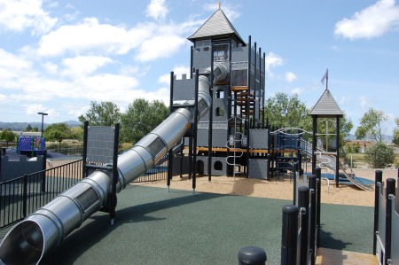This four deck high great slide is a playground centerpiece