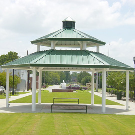 This substantial steel gazebo from Litchfield Shelter is ideal for keeping the rain out.