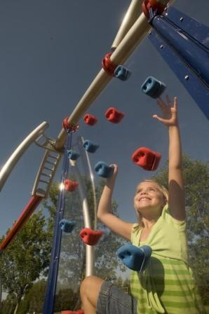 When Innovation meets Creativity, Playground Features like the Clear Rock Wall come about.