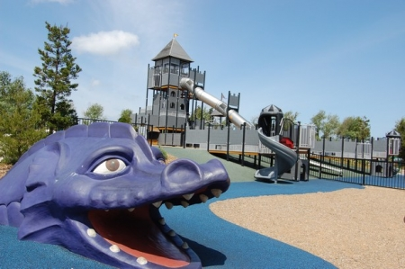 The Purple Dragon at the Magic Mountain Playground Pulls together the Design Theme.